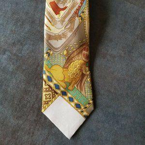HERMES Horse Lion Print Mens Necktie Silk vintage